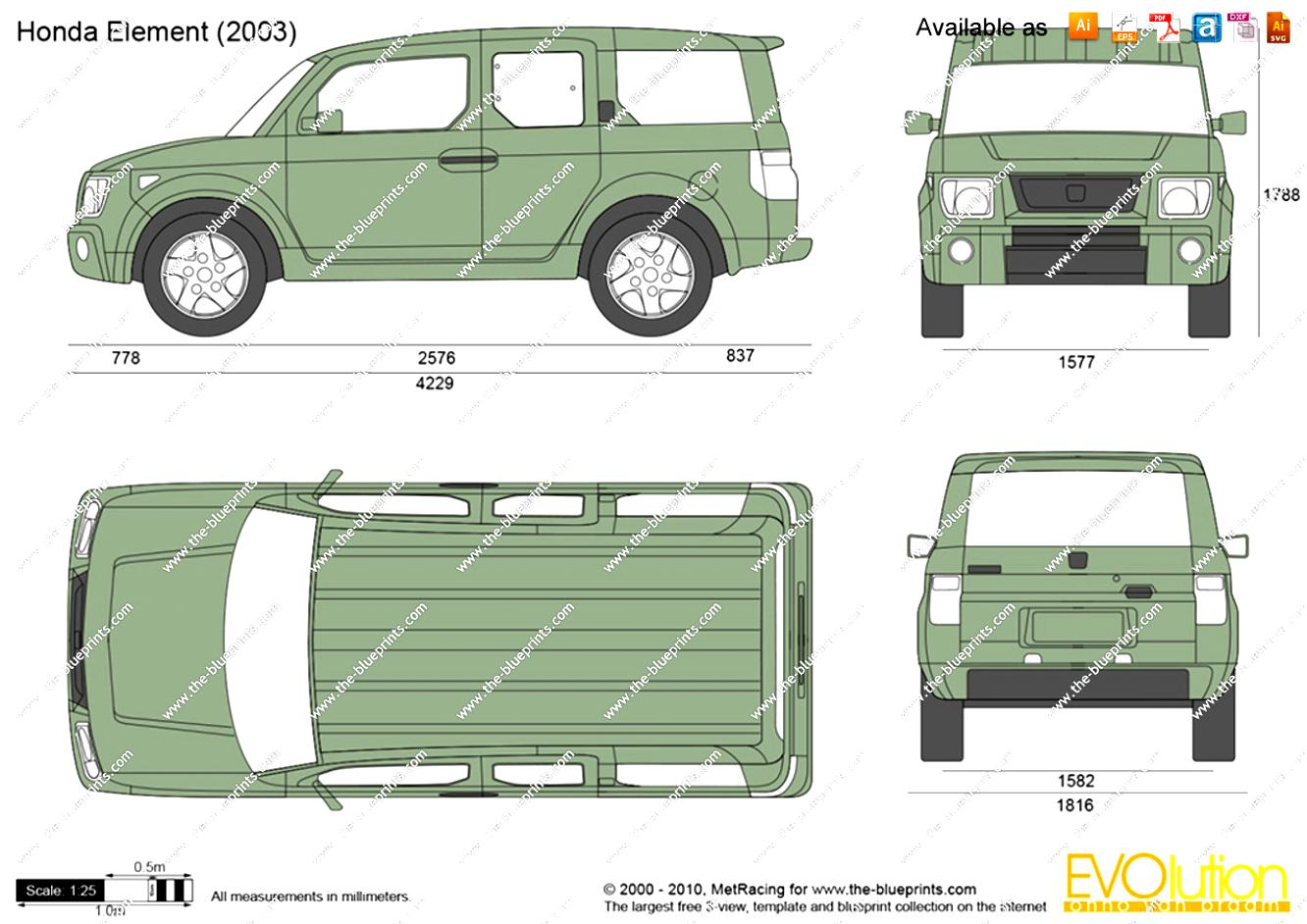 2004 honda element reviews and rating motor trend autos post for Honda element dimensions